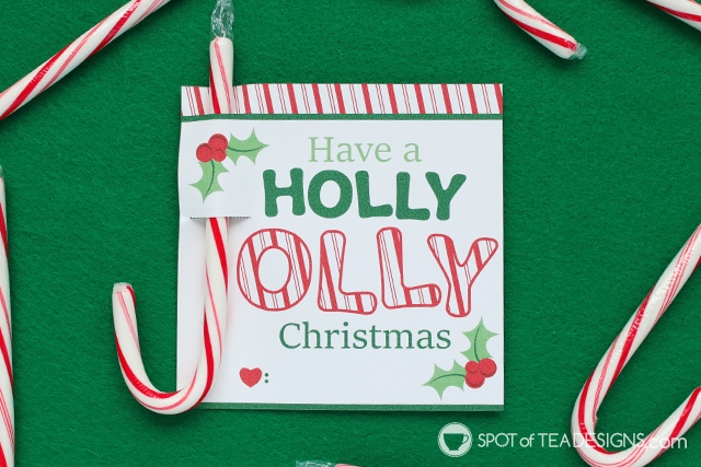 Holly Jolly Printable Christmas Candy Cane Holders | spotofteadesigns.com