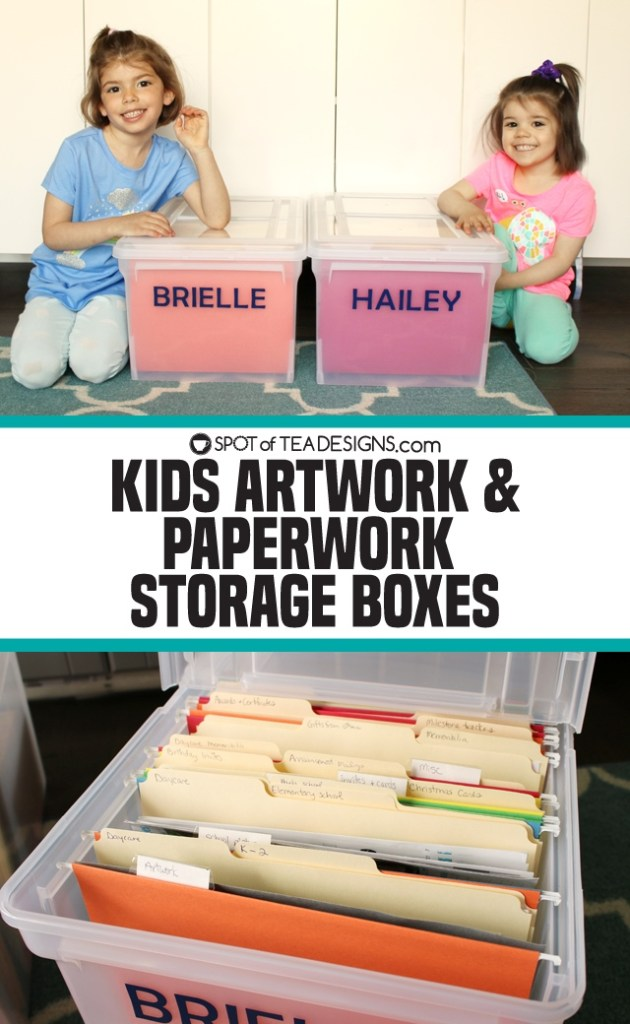 Kids artwork and paperwork storage boxes | spotofteadesigns.com