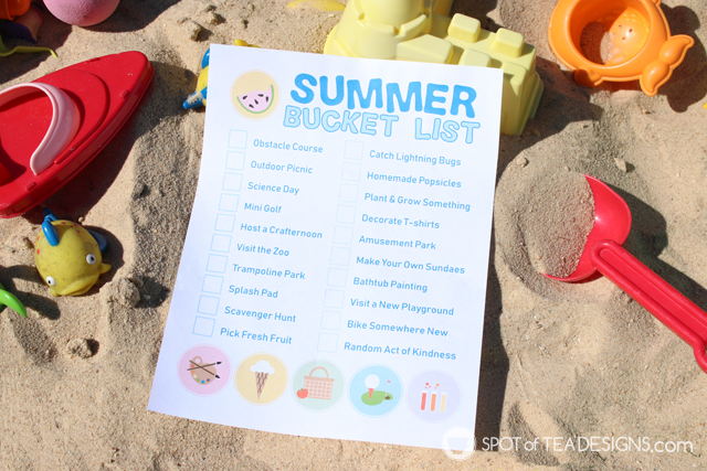 Summer bucket list printable plus a glimpse into our summer morning routine | spotofteadesigns.com