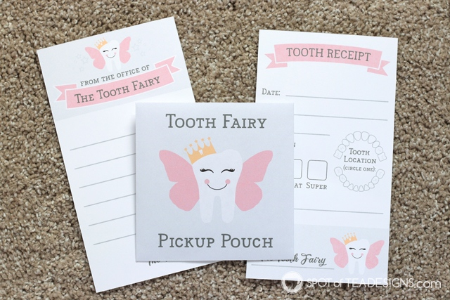Tooth Fairy Kit - both boy and girl versions are available for instant download. Includes items for first lost tooth and any one after! | spotofteadesigns.com