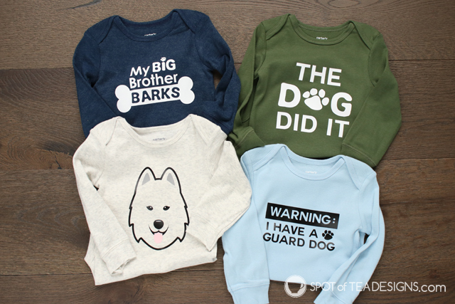 Baby Onesies for Dog Lovers - with free SVG files | spotofteadesigns.com