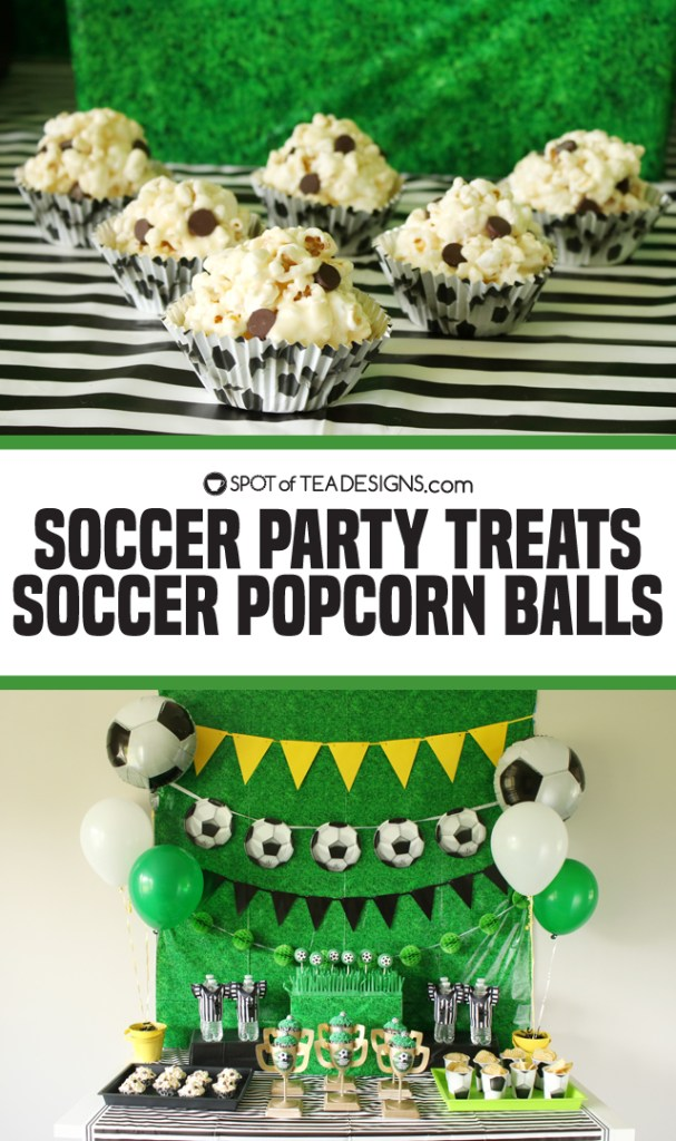 Soccer Party Treats - Soccer Popcorn Balls | spotofteadesigns.com