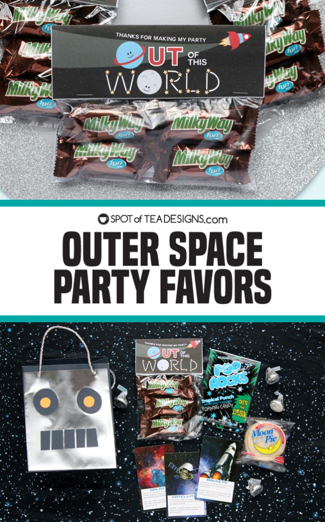 Outer Space Party Favor Ideas including printable bag toppers | spotofteadesigns.com