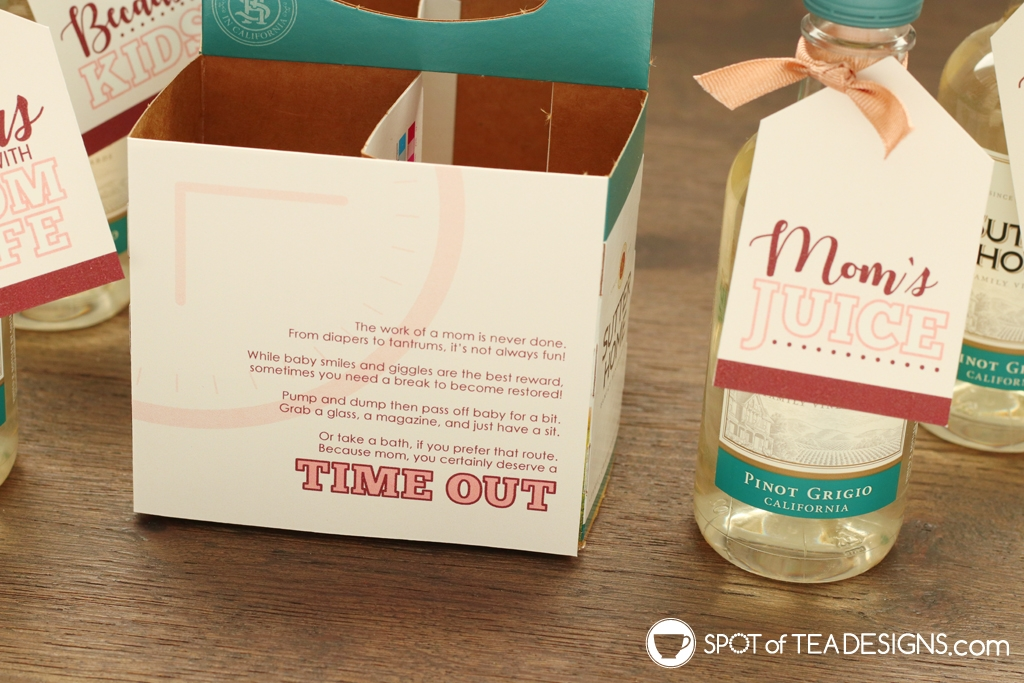 Mommy's Time Out Wine Printable - great for baby shower gift, new mom gift or Mother's Day gift | spotofteadesigns.com