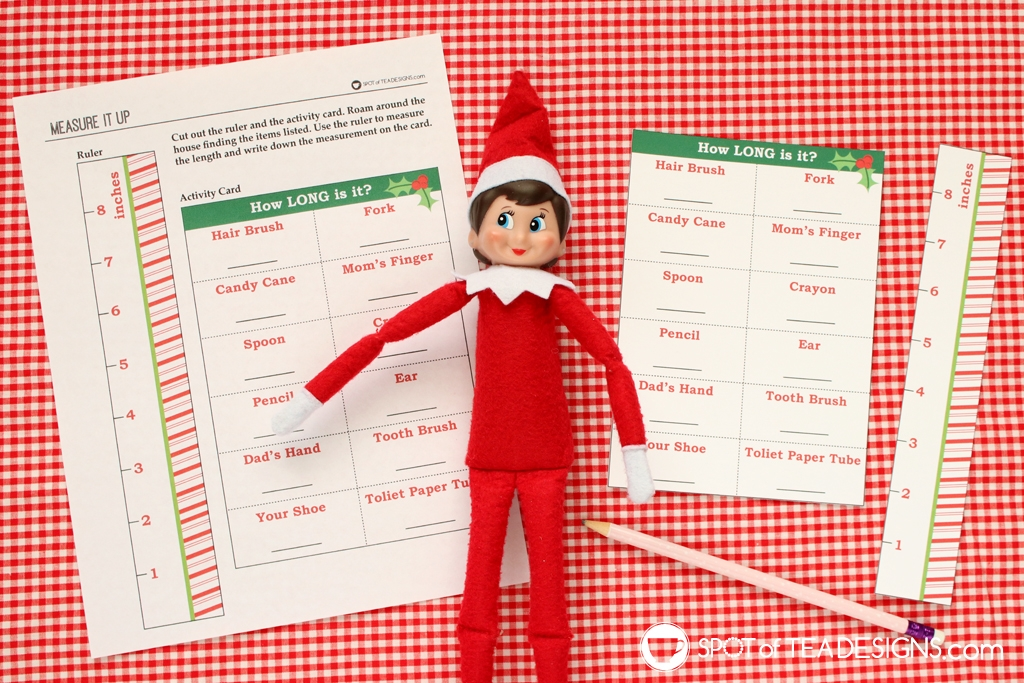 Elf on the shelf idea: measurement activity with free printable | spotofteadesigns.com