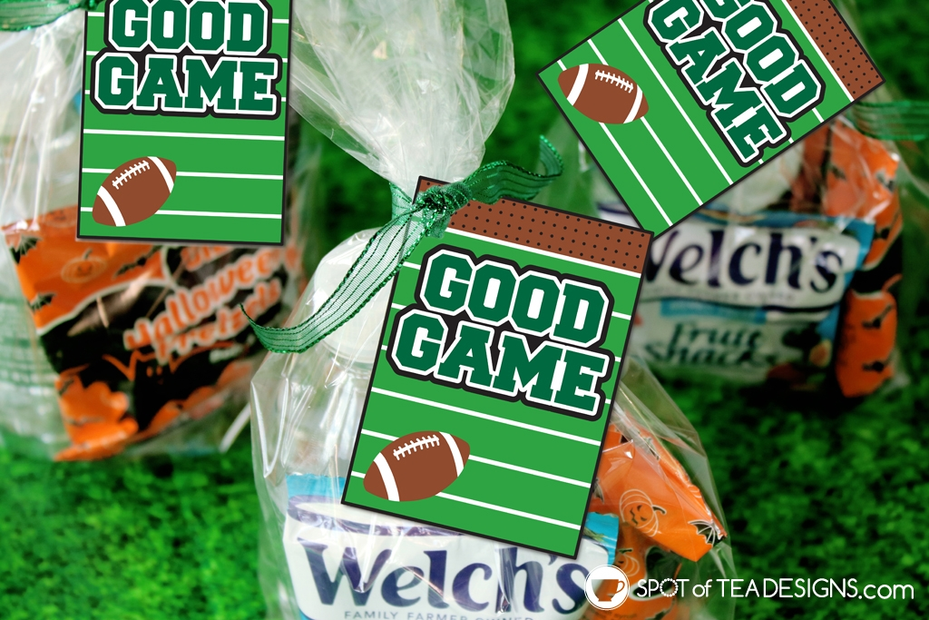 """""""good game"""" football favor tags for when you have snack duty! 