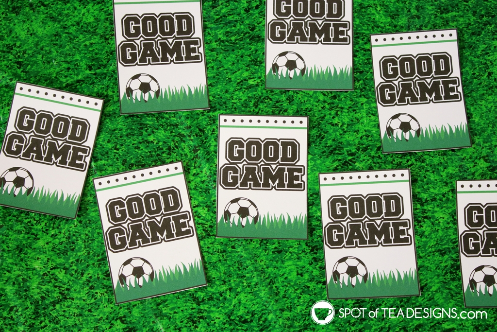 """good game"" soccer favor tags for when you have snack duty! 