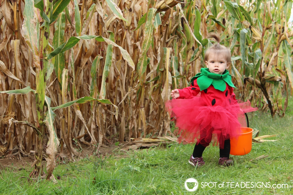 DIY Toddler Strawberry Halloween Costume | spotofteadesigns.com