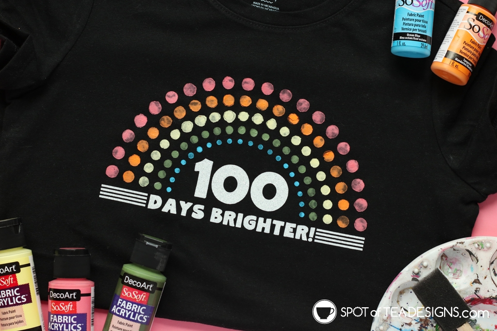 100 Days of School T-shirt - 100 days brighter complete with free SVG file | spotofteadesigns.com