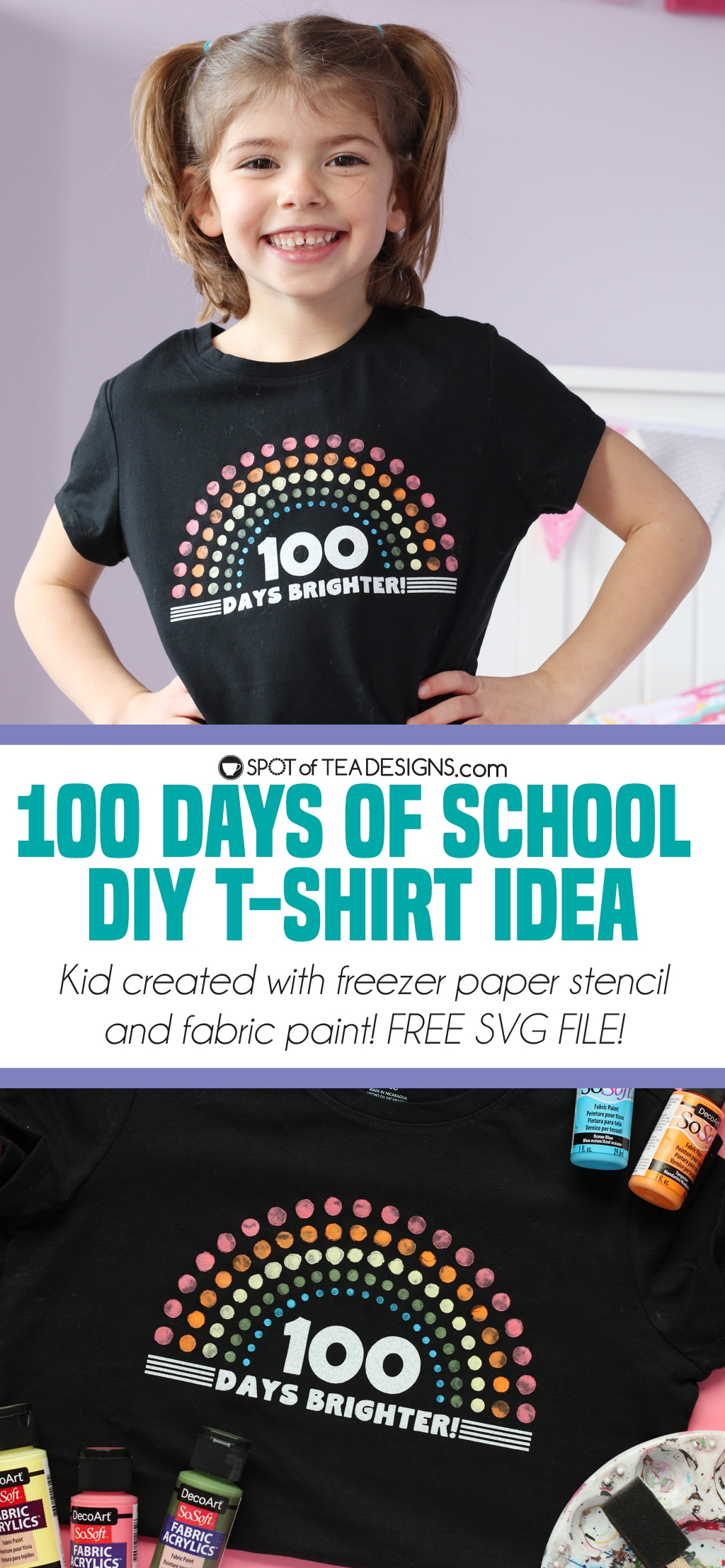 small resolution of 100 Days of School T-shirt   100 Days Brighter   Spot of Tea Designs