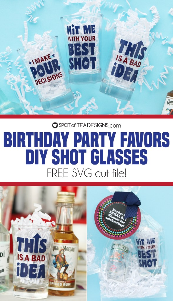 21st birthday party shot glass favors with free SVG cut file to download and make your own! | spotofteadesigns.com