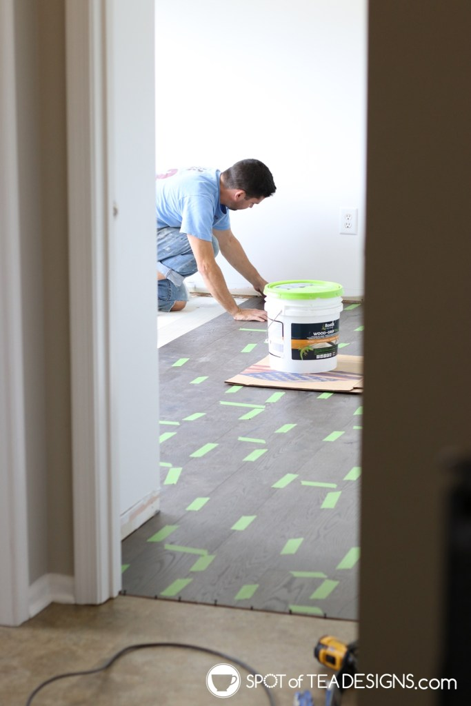 Craft Room Tour Process - floor board installed | spotofteadesigns.com
