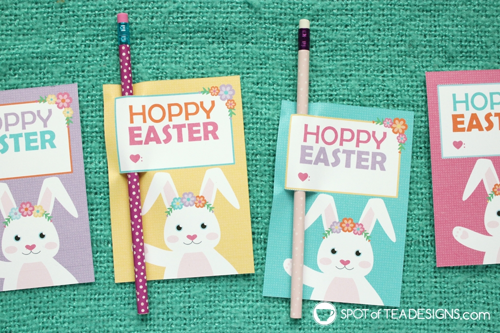 Easter Printable - Hoppy Easter pencil holder | spotofteadesigns.com
