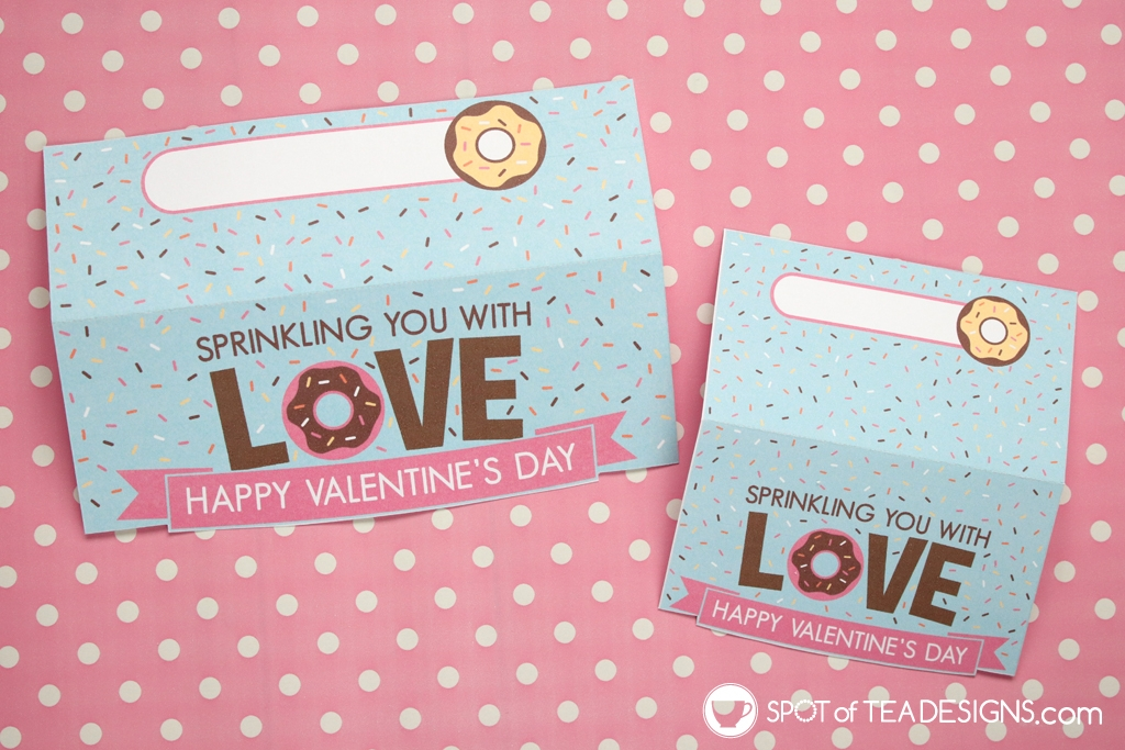 Sprinkling love Printable Valentine designs - bag toppers and pencil holders | spotofteadesigns.com