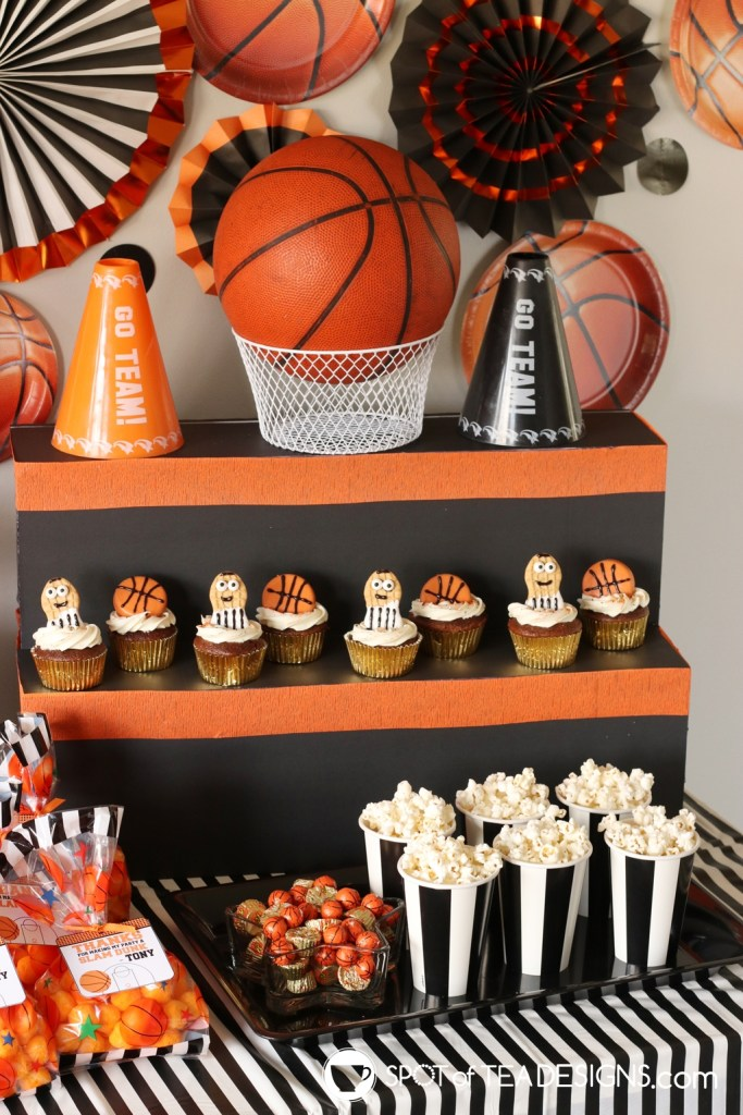 Basketball party hacks - make your own food stand from foam core spotofteadesigns.com