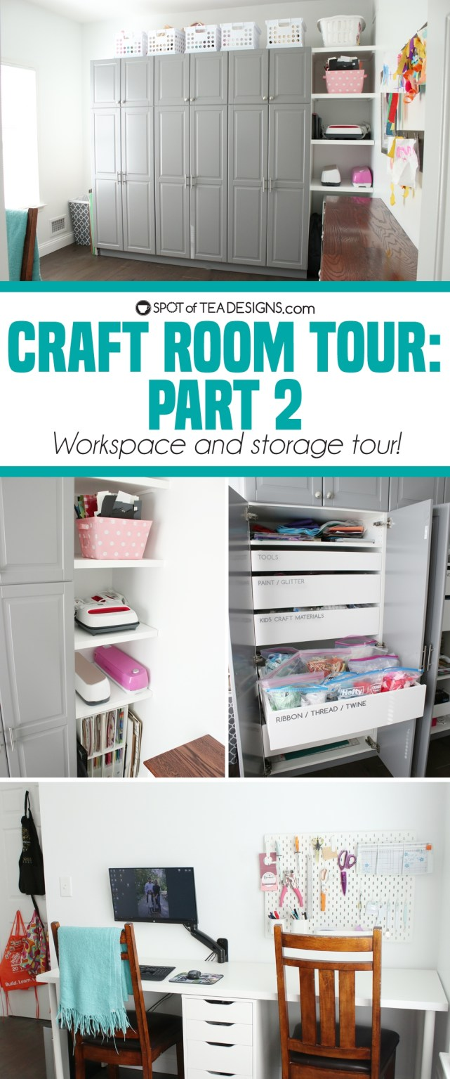 Craft Room Tour - part 2: workspace and storage tour, even with opening the cabinets and doors! | spotofteadesigns.com