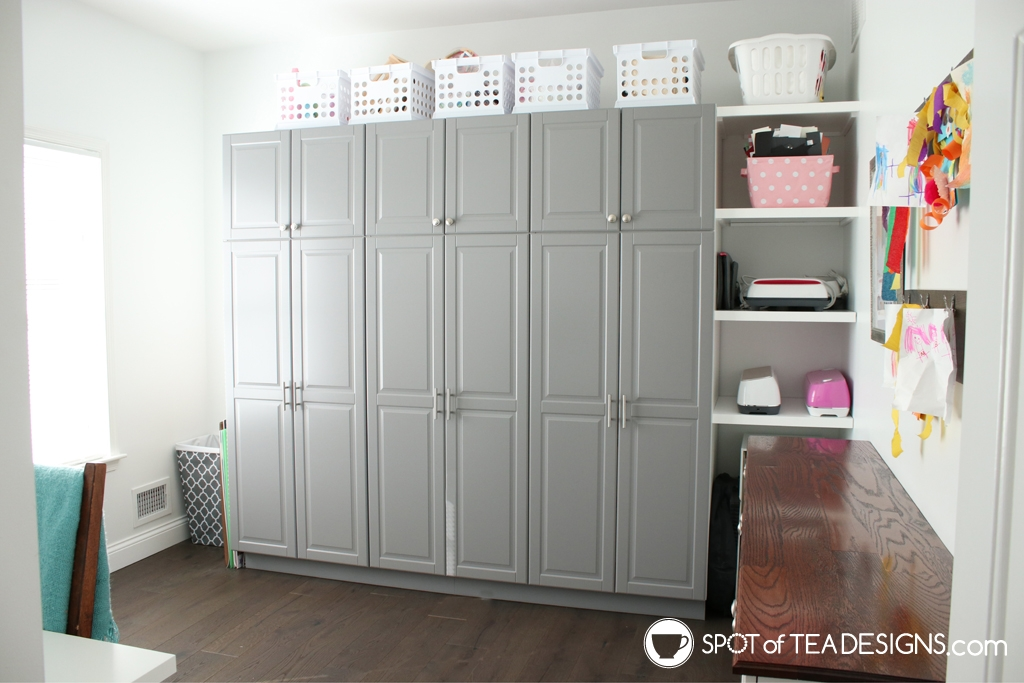 Craft Room Tour - ikea kitchen pantry cabinets as closed craft room storage | spotofteadesigns.com