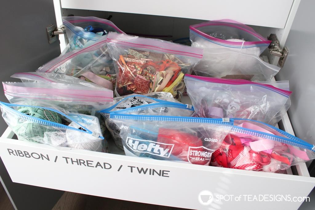 Craft Room Tour - ribbon drawer | spotofteadesigns.com