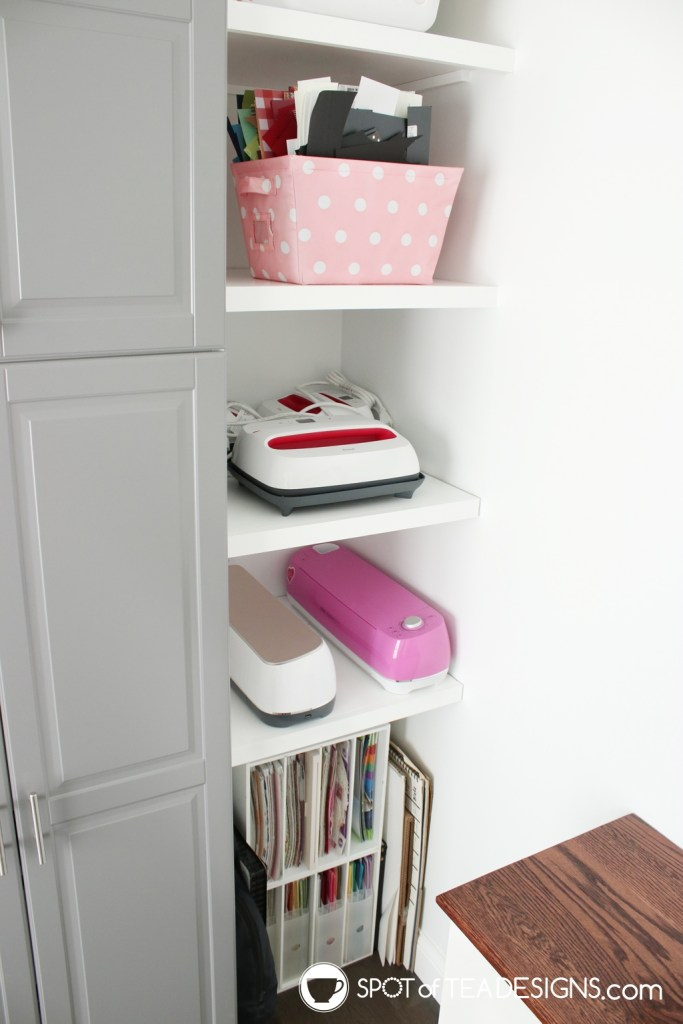 Craft Room Tour - Cricut machine storage | spotofteadesigns.com