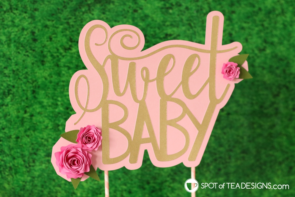 Floral baby shower - DIY cake topper with rolled paper flowers | spotofteadesigns.com