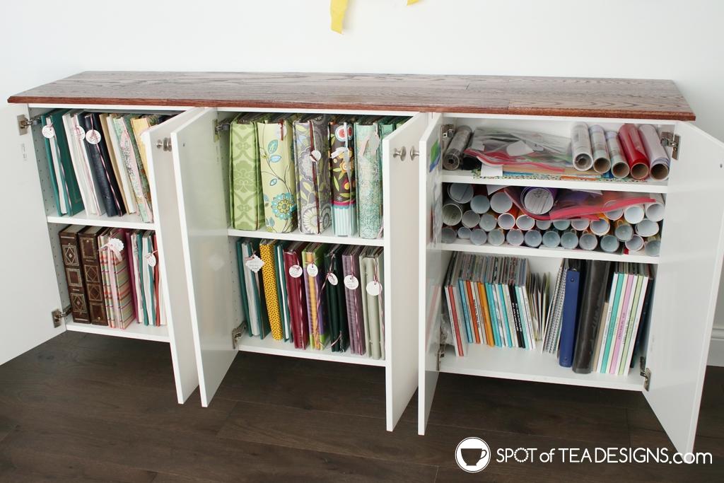 Craft Room Tour - fauxdenza cabinets open | spotofteadesigns.com