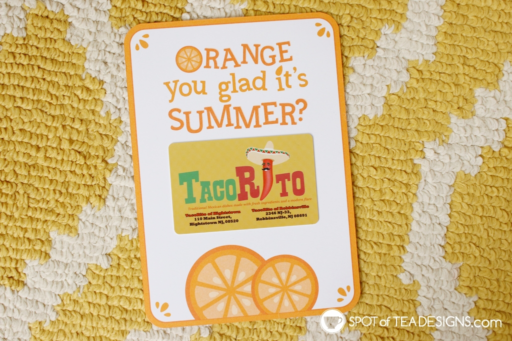 15+ Teacher appreciation printables - orange you glad it's summer gift card holder | spotofteadesigns.com