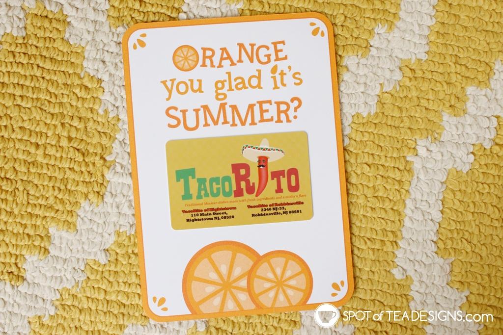 15+ Teacher appreciation printables - orange you glad it's summer gift card holder | spotofteadesigns.com