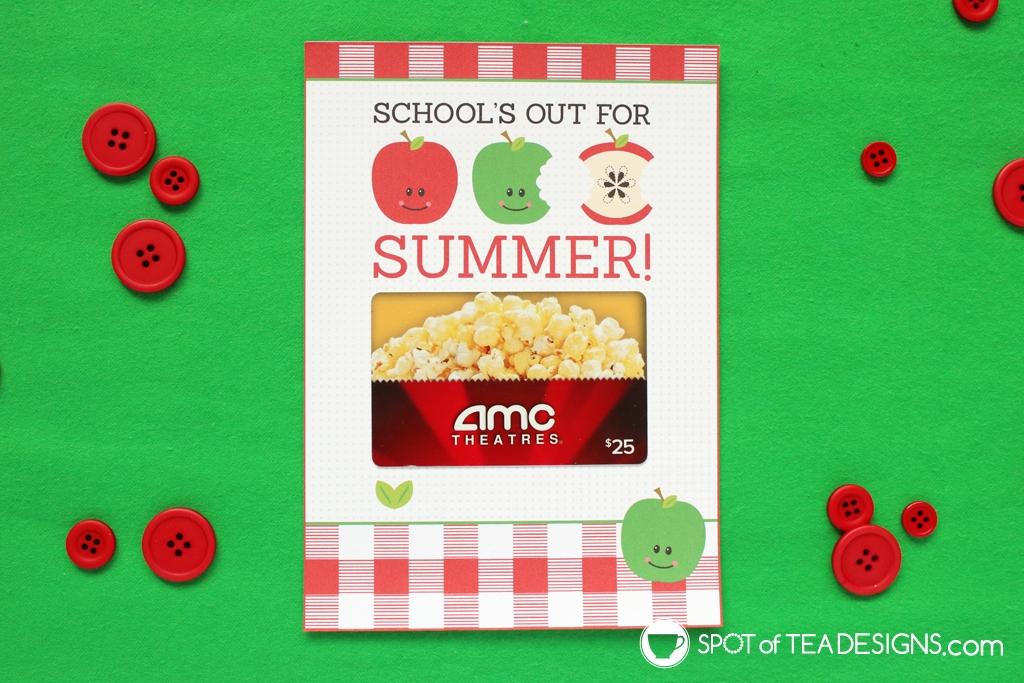 15+ Teacher appreciation printables - school's out for summer gift card holder | spotofteadesigns.com