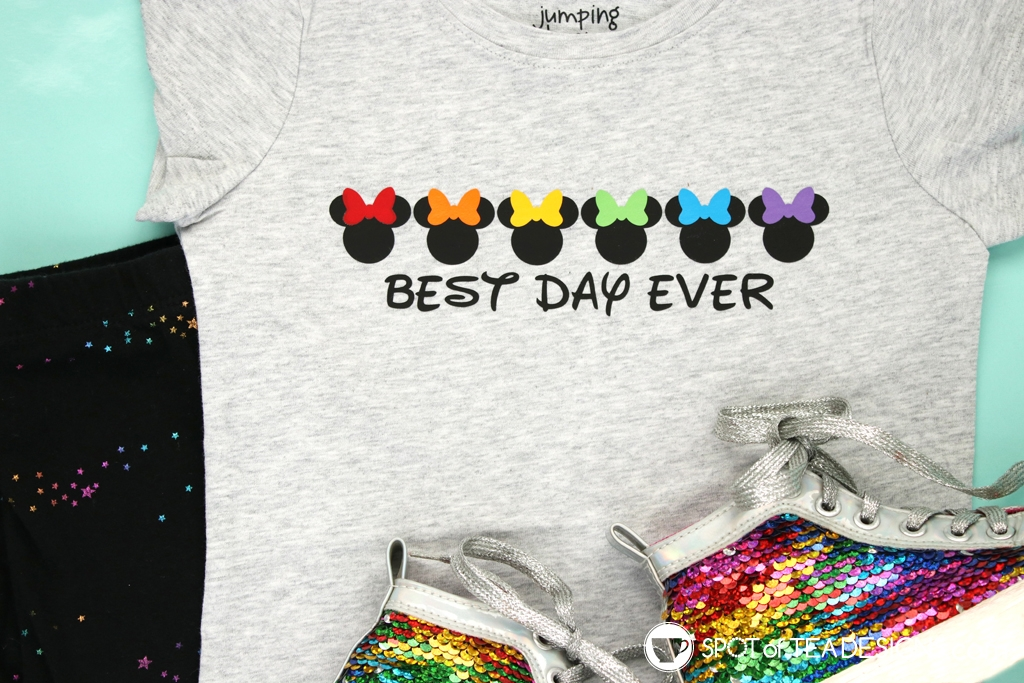 Best Day Ever Minnie Mouse Bows DIY Disney T-shirt - free svg cut file available | spotofteadesigns.com