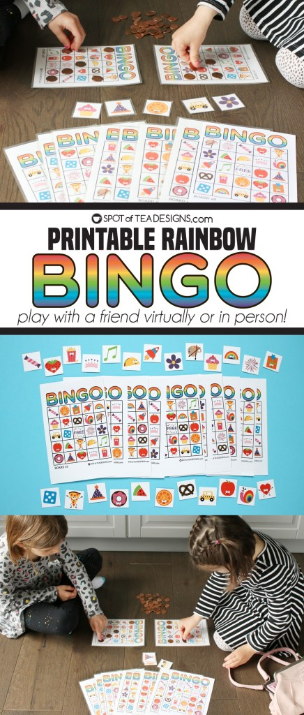 Printable rainbow bingo game - play with a friend virtually or in person | spotofteadesigns.com