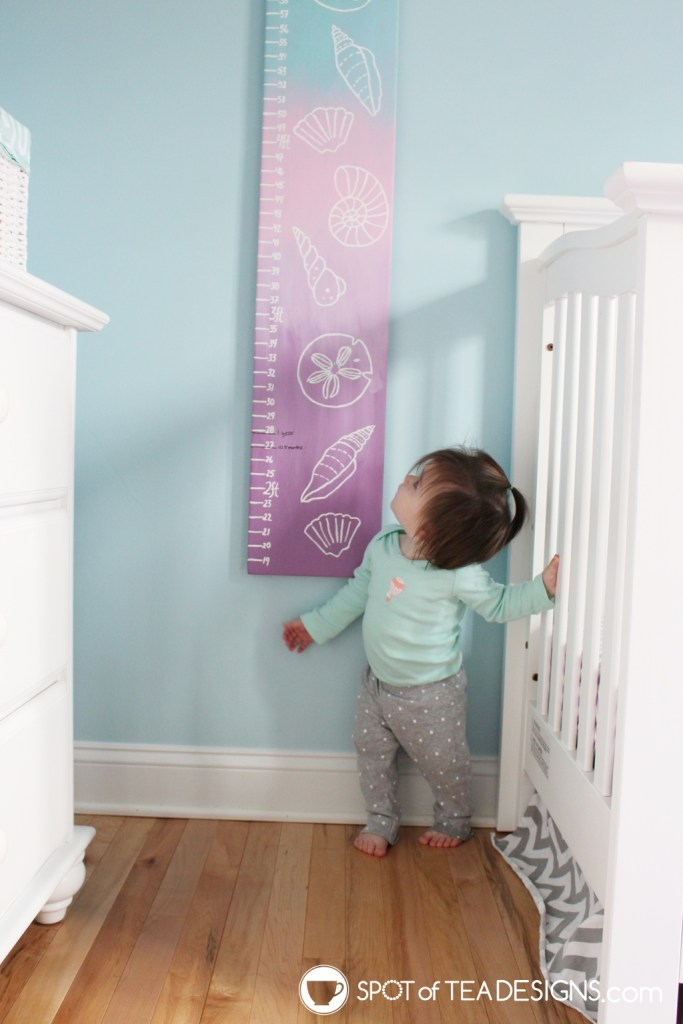 Under the sea nursery tour - diy painted growth chart | spotofteadesigns.com