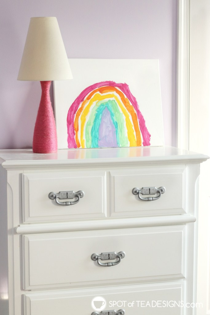 Girl's bright and colorful bedroom tour - dresser makeover | spotofteadesigns.com