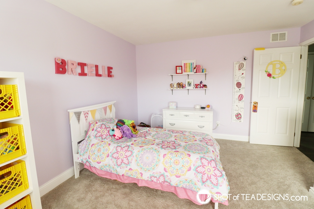 Girl's bright and colorful bedroom tour | spotofteadesigns.com