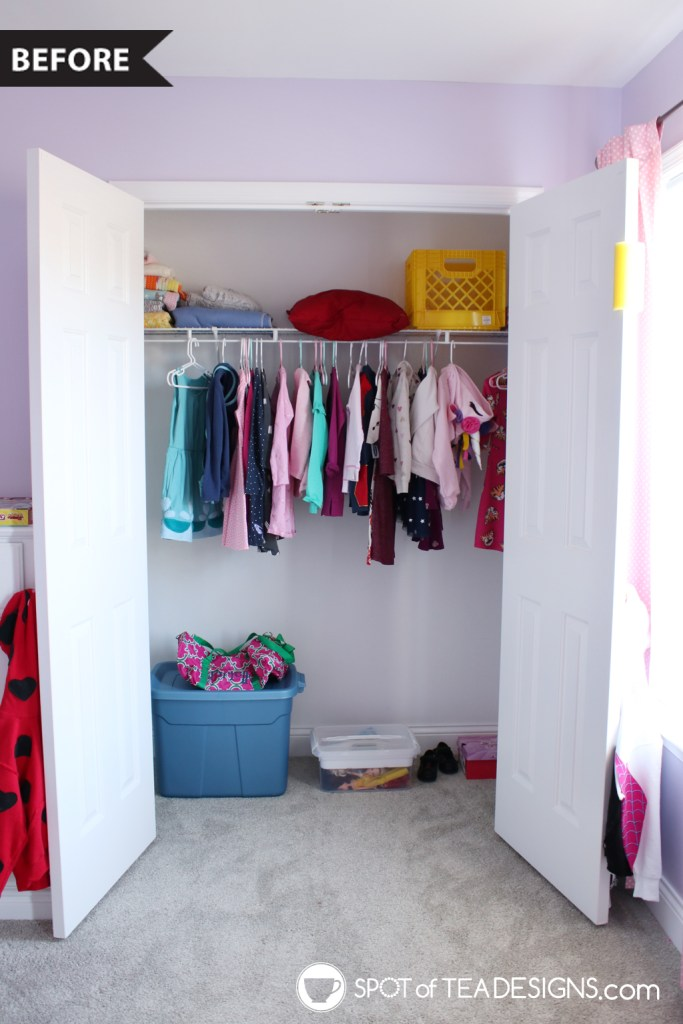 Girl's bright and colorful bedroom tour - closet organization before | spotofteadesigns.com