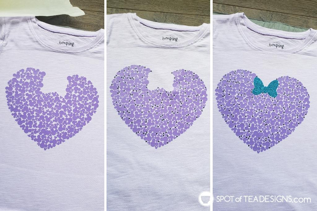 Hidden Mickey Heart T-shirt - layered to make a heart   spotofteadesigns.com