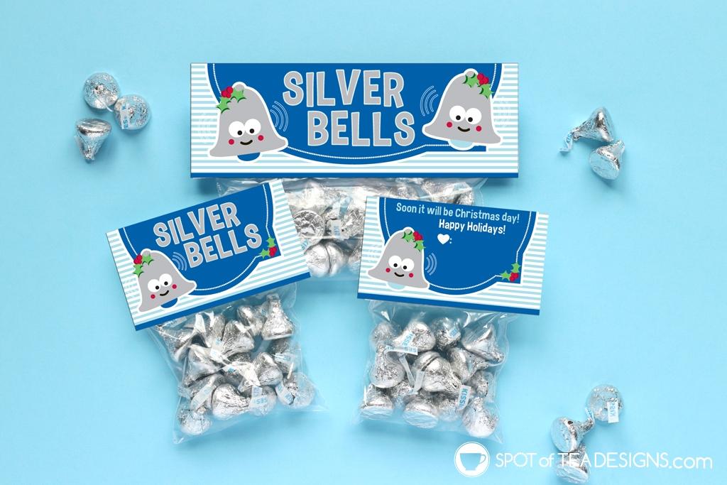 Printable Christmas Bag Toppers - Silver Bells | spotofteadesigns.com