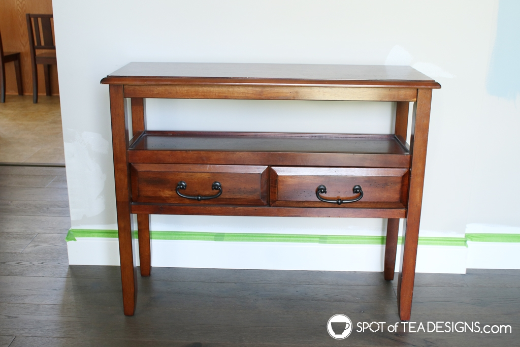 Entryway table makeover. Brown to white with step by step photos | spotofteadesigns.com
