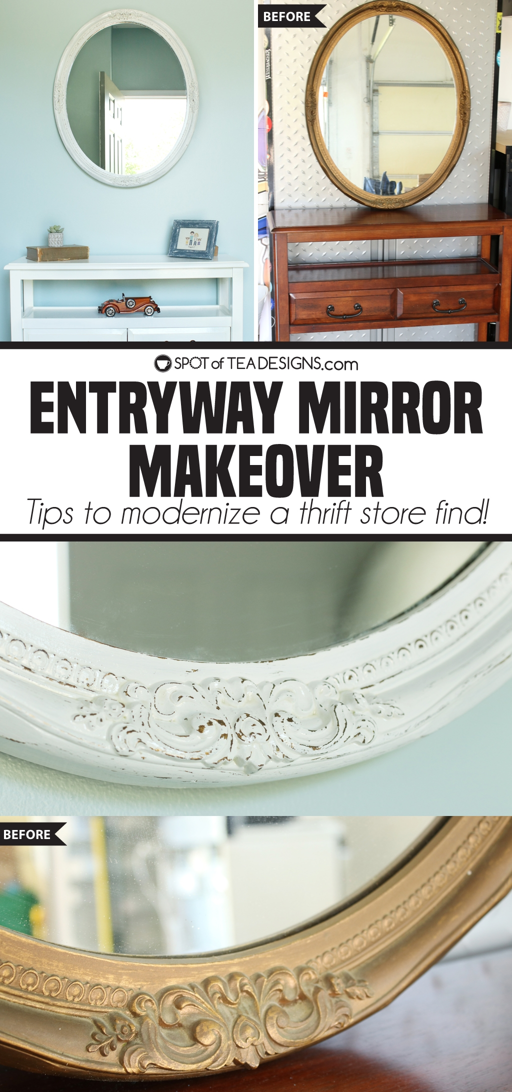 Entryway mirror makeover | spotofteadesigns.com