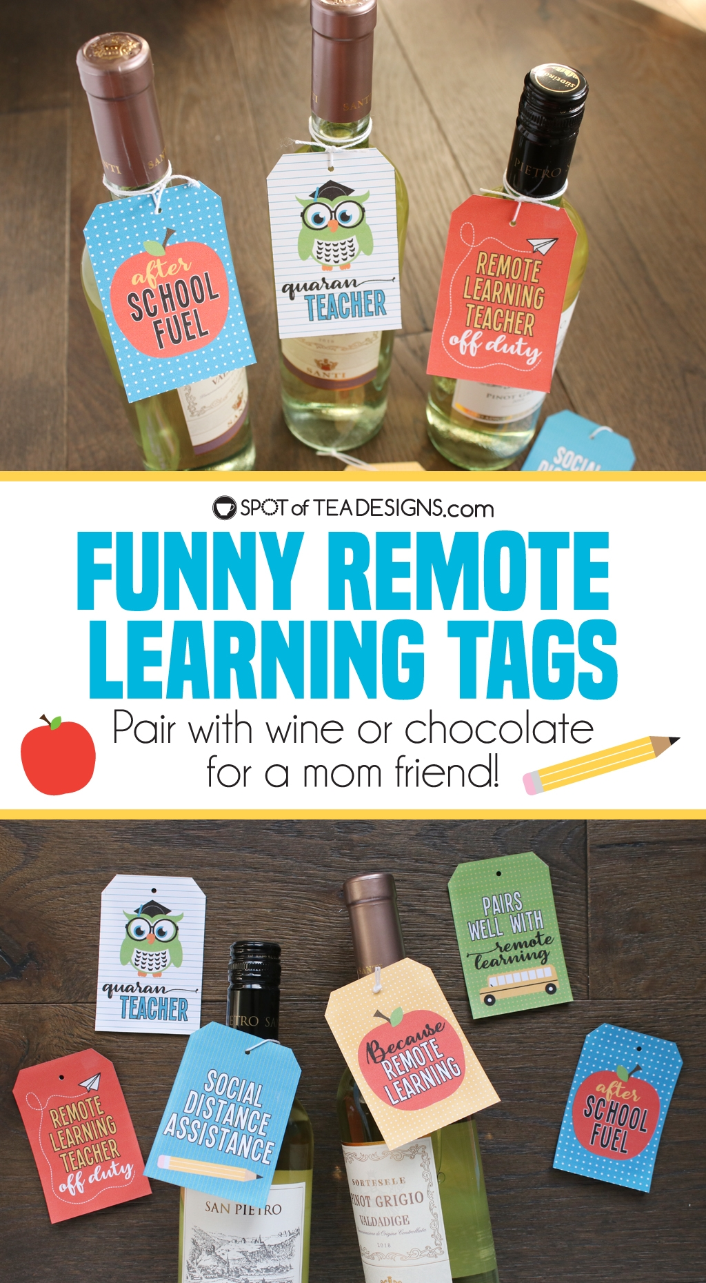 Funny remote learning tags - pair with wine or chocolate to cheer up a mom friend | spotofteadesigns.com