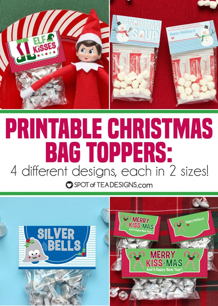 Printable Christmas Bag Toppers - 4 different designs, each in 2 sizes! | spotofteadesigns.com