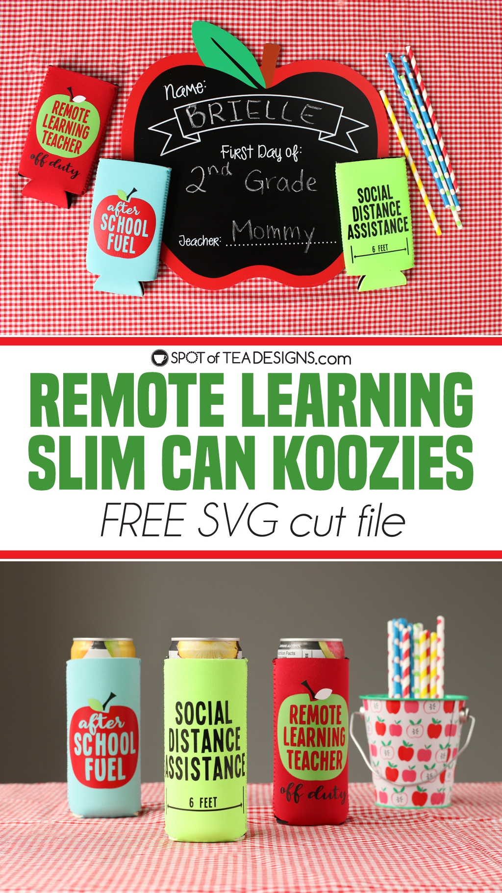Remote learning can koozies - free svg cut file | spotofteadesigns.com
