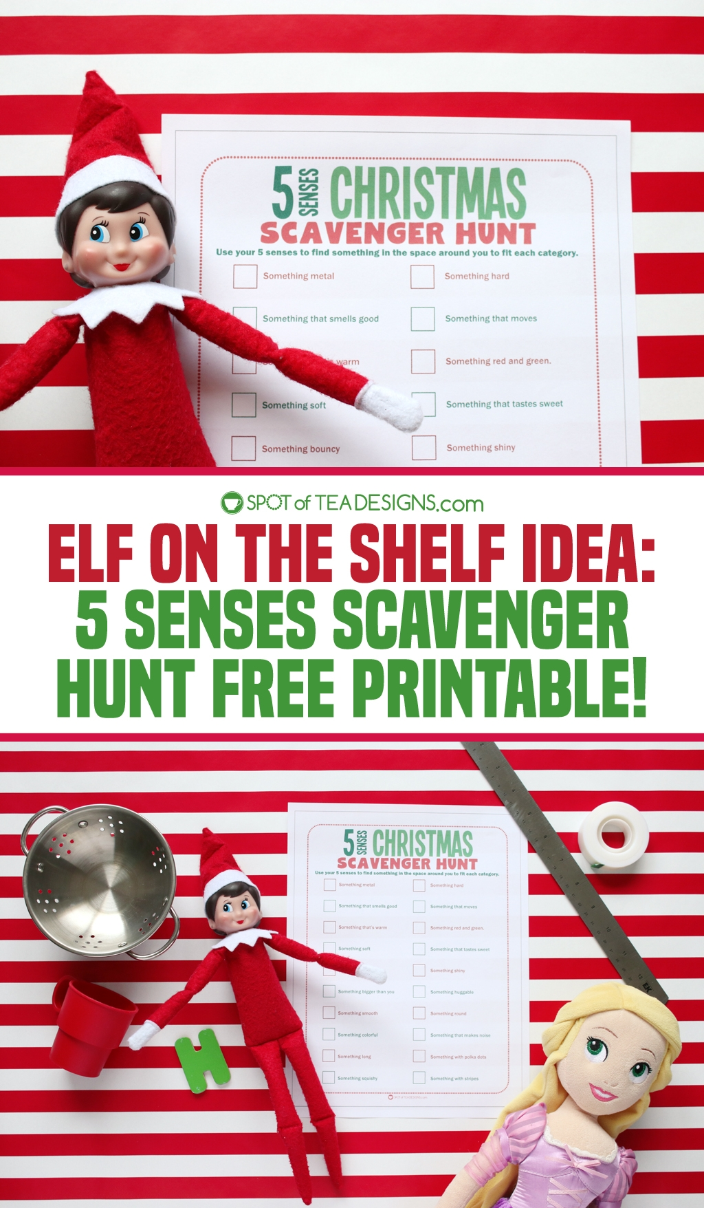 Elf on the shelf idea | 5 senses Christmas scavenger hunt free printable activity sheet | spotofteadesigns.com