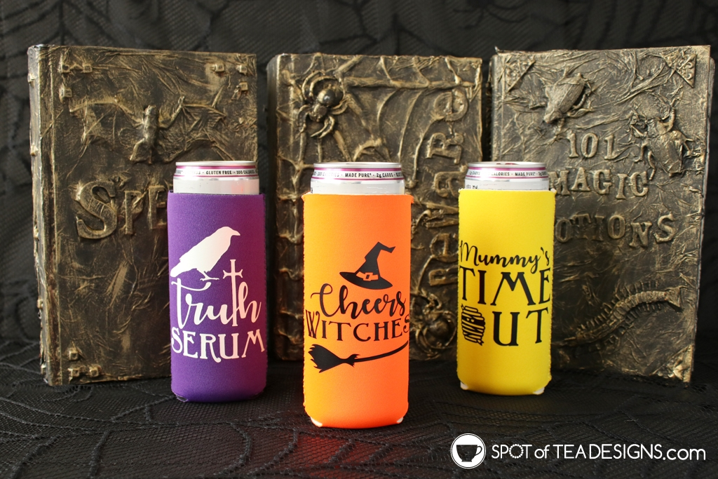 Halloween slim can koozies with free svg cut file | spotofteadesigns.com