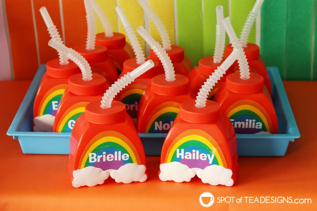 Rainbow Birthday Party - personalized drink cups | Spotofteadesigns.com