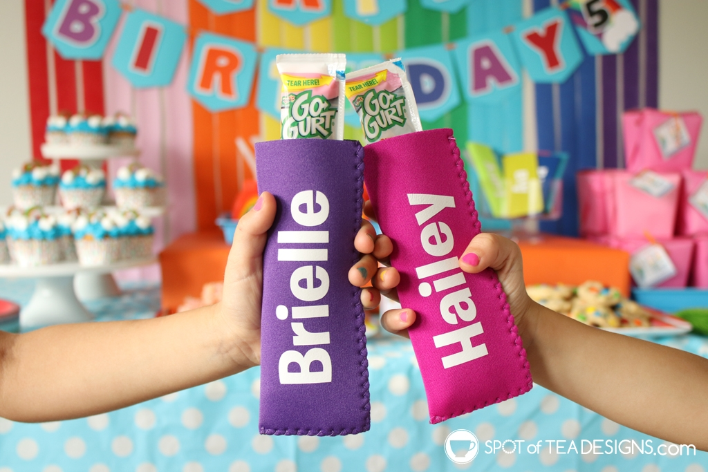 Rainbow Birthday Party - personalized ice pop holders | Spotofteadesigns.com