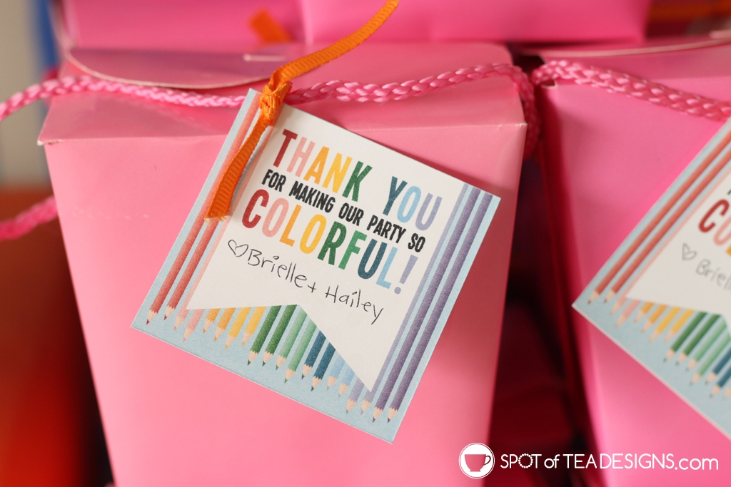 Rainbow Birthday Party - colorful thank you tag | Spotofteadesigns.com