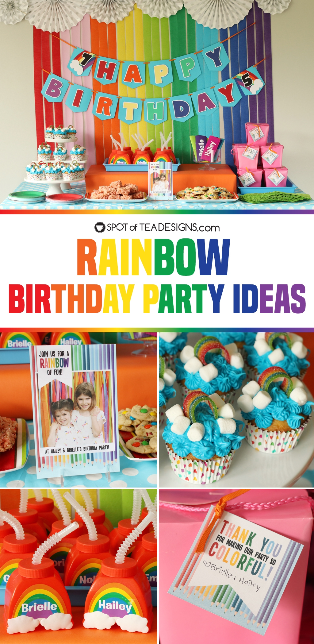Rainbow birthday party ideas for decor, food and favors! | spotofteadesigns.com