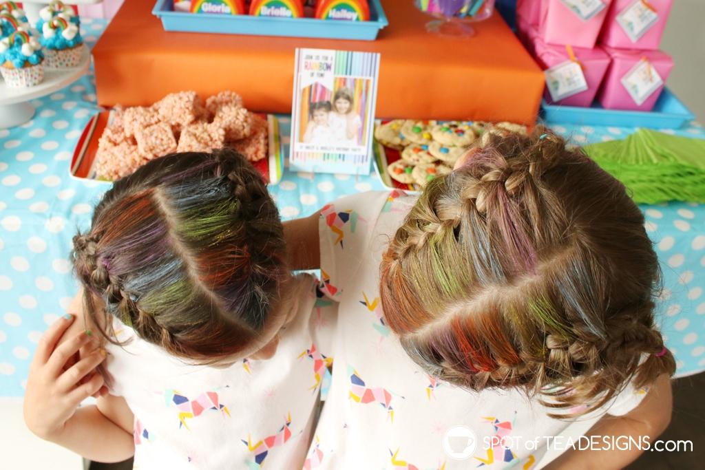 Rainbow Birthday Party - rainbow hair chalk | Spotofteadesigns.com