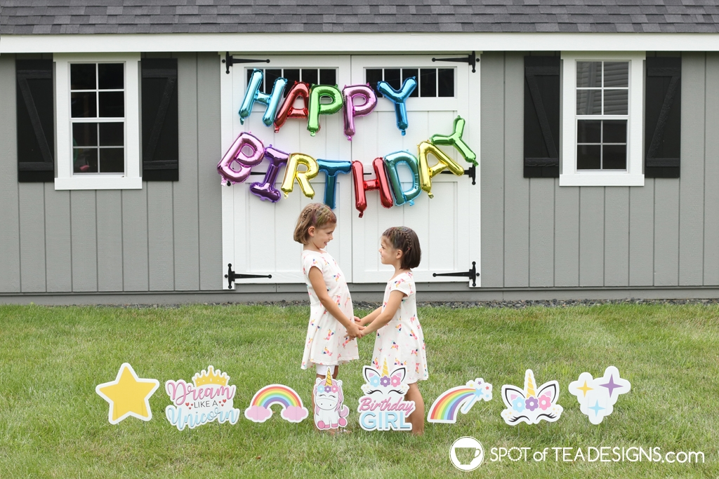 Rainbow Birthday Party - unicorn lawn signs | Spotofteadesigns.com