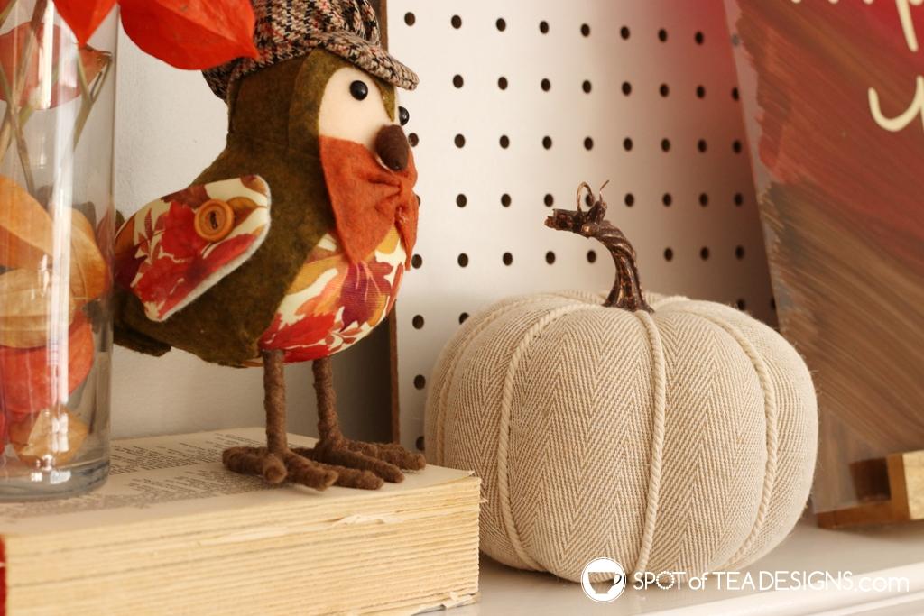 DIY fall mantle - textured pumpkin decor | spotofteadesigns.com